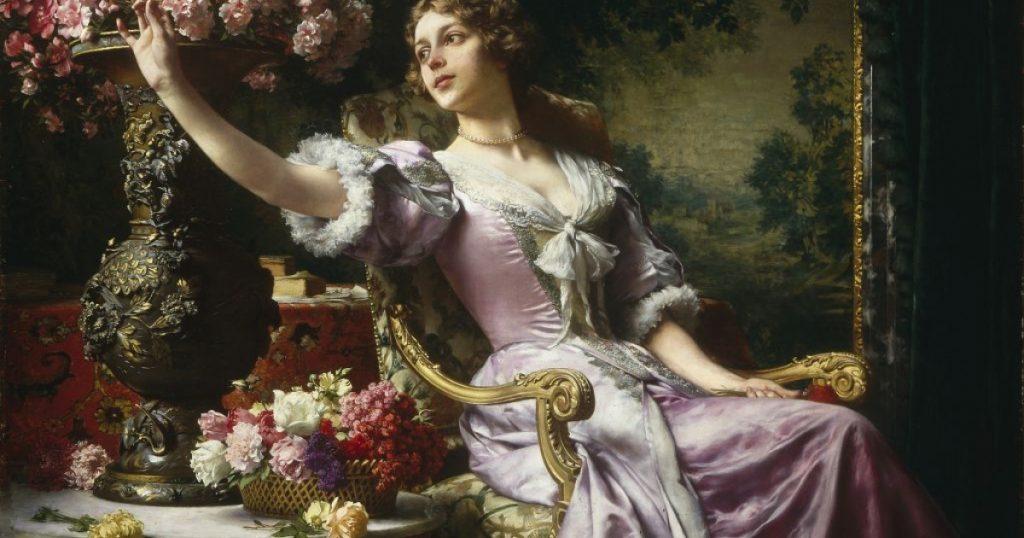 Dama w liliowej sukni z kwiatami, Władysław Czachórski