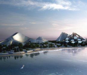 Siedem wzgórz u wybrzeży Baku, na wyspie Zira, projektu duńskiej pracowni Bjarke Ingels Group.