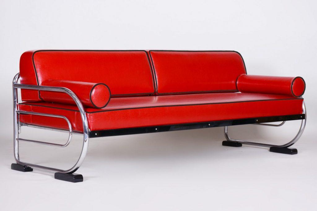 Bauhaus Red Tubular Chromed Steel Sofa by Robert Slezák, 1930s vintage.com
