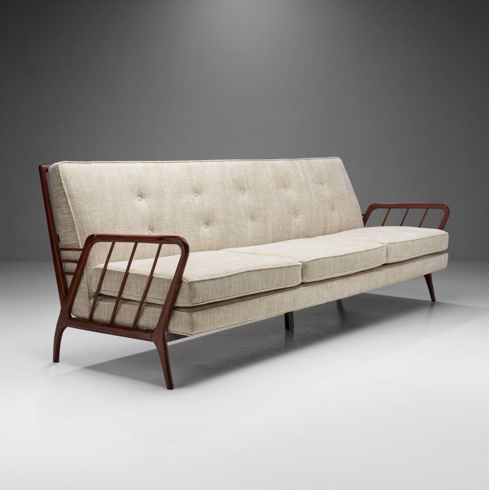 Brazilian Wood Three-Seater Sofa by Rino Levi, Brazil 1950s vintage.com