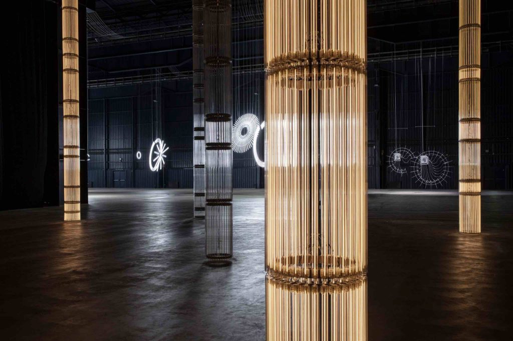 "Cerith Wyn Evans, ""….the Illuminating Gas"", exhibition view at Pirelli HangarBicocca, Milan, 2019. Courtesy of the artist and Pirelli HangarBicocca, Milan. Photo- Agostino Osio."