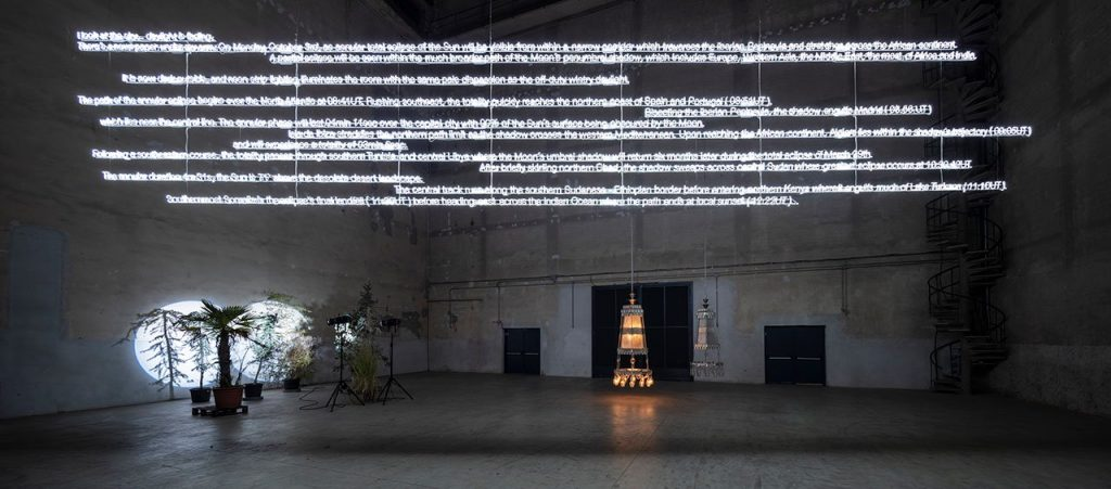 "Cerith Wyn Evans, ""….the Illuminating Gas"", exhibition view at Pirelli HangarBicocca, Milan, 2019. Courtesy of the artist and Pirelli HangarBicocca, Milan. Photo- Agostino Osio.12"