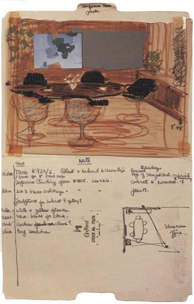 Szkic Florence Knoll, instrukcja dotyczaca zdjęcia reklamowego, 1961