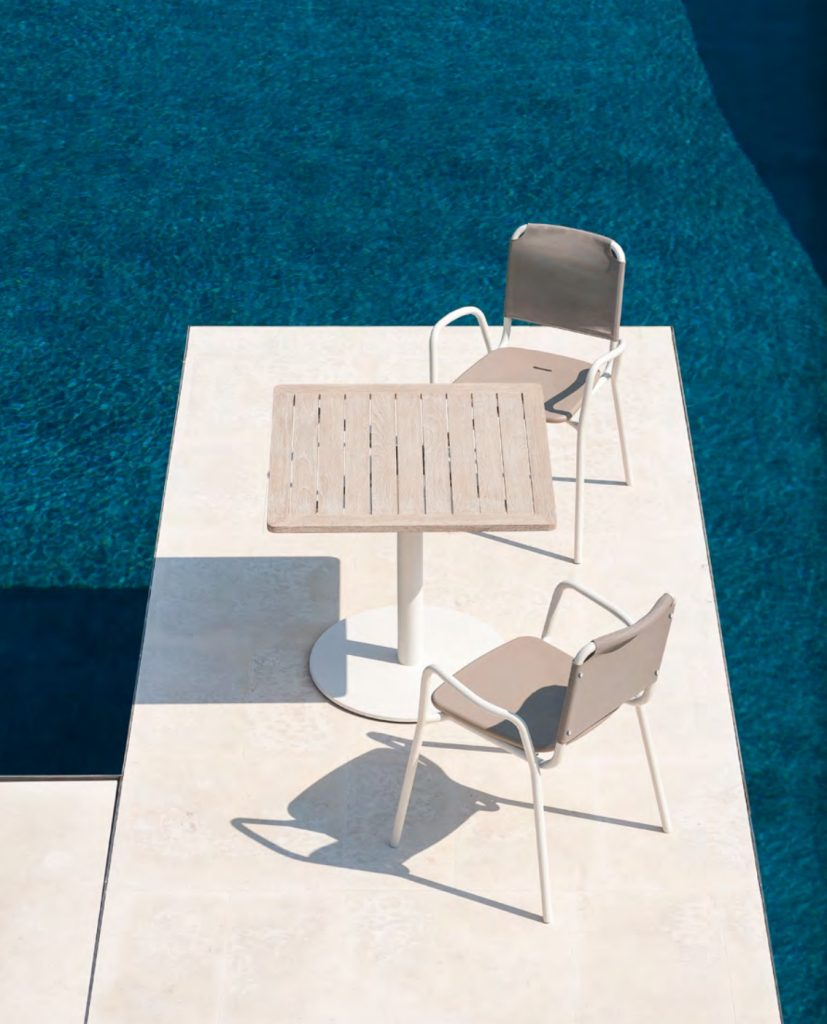 GUEST Armchairs Milk + Batyline Clay + Polyurethane Mole Resin Seat STEM Table Milk + Top in WR White Teak