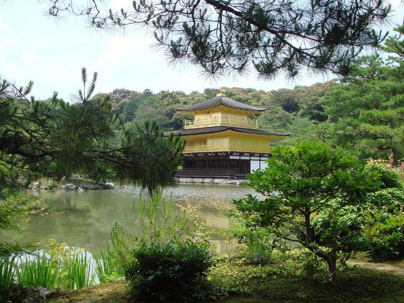 Złoty pawilon w ogrodzie przy świątyni Kinkakuji