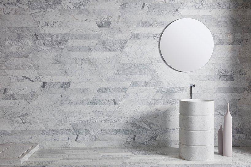 bath line- 'trullo' free-standing washbasin in white carrara marble walls&floors- 'dedalo' wall covering by claesson koivisto rune