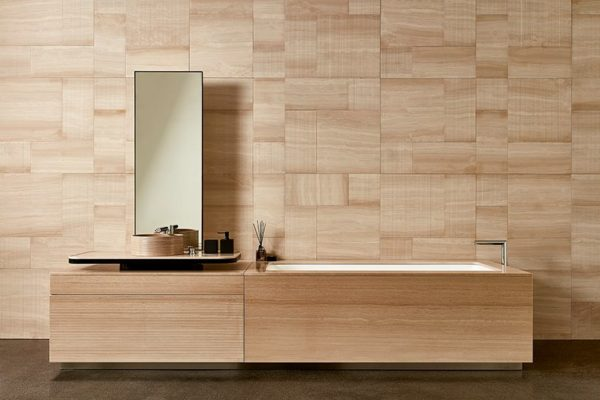 bathtub concept in ecru striato marble wall&floors- 'parrallelo' wall covering by claesson koivisto rune Marmur