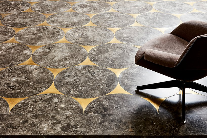 walls&floors- 'iride' flooring system in marble and brass inlays by claesson koivisto rune