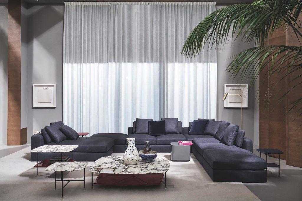 09 - fot.Mood-Design_Meridiani - salone 2019 - harold modular sofa - adrian low tables