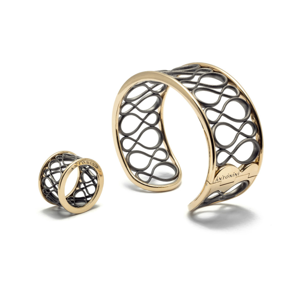 Antonini - Anniversary100 collection - cuff and ring yellow gold and sil...
