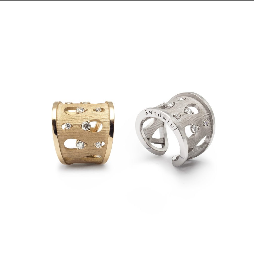 Antonini_Anniversary100 collection - rings yellow satin gold and white...